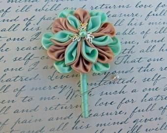 Tan and Pastel Green Kanzashi Flower Boutonniere