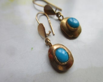 Vintage 14K Persian Turquoise Dangle Pierced Earrings - Turquoise in Gold Jewelry - Fine Estate Jewelry - December Birthstone - Summer Style