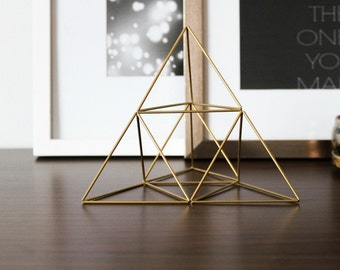 Christmas Tree Topper, Brass Pyramid Air Plant Holder, Himmeli, Sacred Geometry, Centerpiece