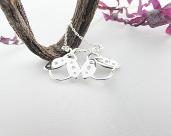 Best Friend Necklace, Friendship Necklace, Silver Necklace, Ladybird Necklace, Ladybug Necklace, Irish Language Gifts, Irish Design, Gaeilge