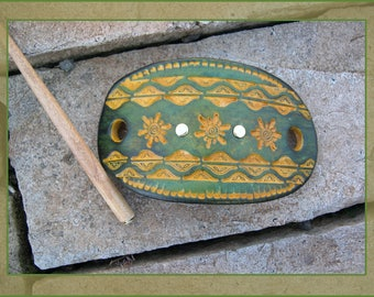 585 Tropical look, LEATHER hair slide, stick barrette, bun holder, metal studs, stamped primitive sunshine, summer style, green, yellow,