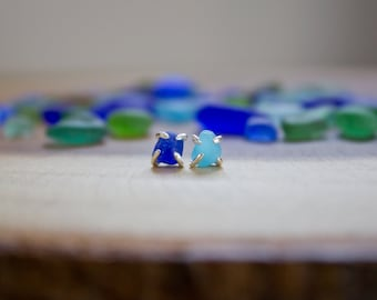 Cobalt Blue + Blue Milk Beach Glass Studs - authentic beach glass - sterling silver - handmade - one of a kind