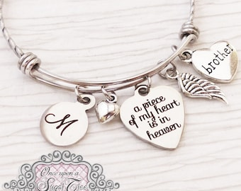 Loss of Brother Memorial Jewelry,Bracelet,Remembrance, Dad Memorial, Loss of Daughter,A piece of my heart is in heaven, wing,BANGLE Bracelet