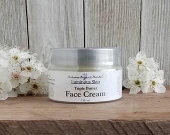 Organic Triple Butter Face Cream, Natural Facial Moisturizer, Organic Lotion, Unscented Facial Cream, Fragrance Free Moisturizer, Vegan