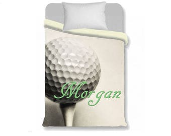 Golf Duvet Cover-Golf Ball with Name Duvet Cover-Sports Duvet Cover-Sports Bedroom-Girls Bedding-Boys Bedding-Long Twin-Personalized Duvet