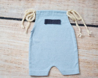 Upcycled Newborn Romper, Blue Baby Romper, Baby Boy Photo Outfit, Baby Boy Photography Prop, Photo Prop, Blue Newborn Boy Romper Photo Prop