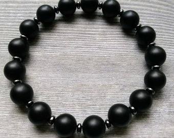 Handmade Men's Gemstone Bracelet with 10 mm Matte Black Onyx and Hematite Spacers