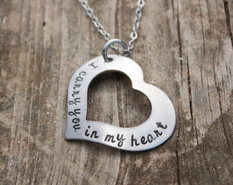 Personalized I carry you in my heart open heart washer necklace stainless heart washer necklace
