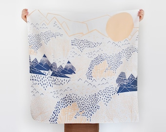 Free Shipping Worldwide / Mountain Blossom furoshiki. Japanese eco wrapping textile/scarf, handmade in Japan
