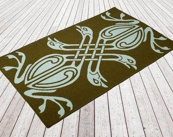 Woollen flat weave rug, Woven and backed. Moss Green/ Aqua, Green, Aqua, Designer rug, flooring, wool, hand finished, home & living