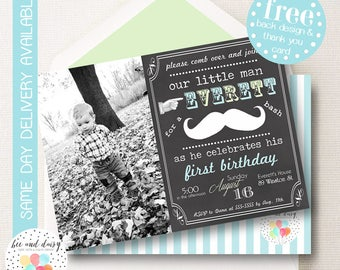 Mustache Invitation, Mustache Birthday Invitation, Mustache Party, Boy First Birthday, Boy Birthday, Chalkboard Mustache Invite