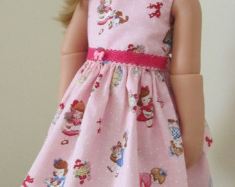 """18"""" Doll Clothes, Gotz Doll Dress, Pink Doll Outfit,"""