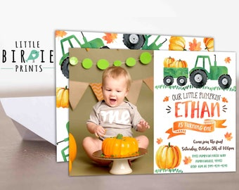 Woodland our little pumpkin first birthday invitation pumpkin invitation pumpkin first birthday invitation boy pumpkin birthday invitation tractor pumpkin invitation pumpkin tractor filmwisefo