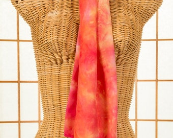 Silk, Scarf, Pink, Peach, Yellow, Crepe de Chine, High Fashion, Hand Dyed, READY To Ship, OOAK, Travel, Long, Cruise, Rectangle, 169