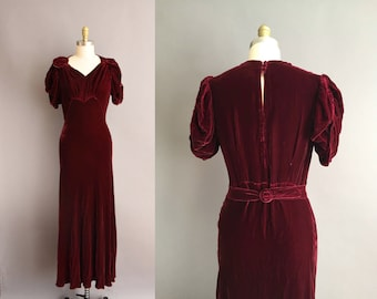 Rare 30s cranberry red silk velvet bias vintage dress. 1930s velvet vintage dress