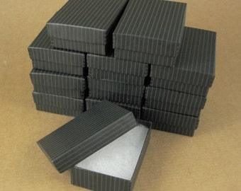 Black Striped Chipboard Jewelry Gift Boxes - Set of 12  / 3 1/4 x 2 1/4 x 1 Inch