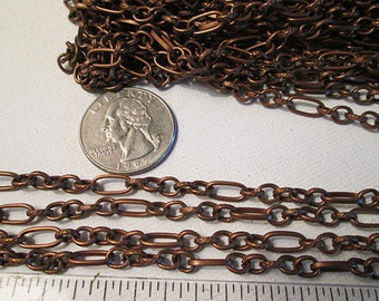 Remnant Sale, Metal Jewelry Chain, Long Short Link Chain, Antique Copper, Fashion Chain, Decorative Chain, Copper Chain, 24 Inches, ch114C