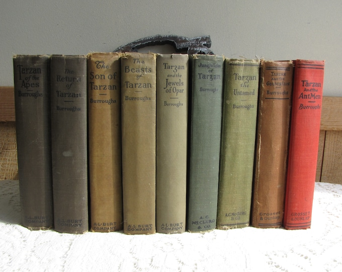 Tarzan of the Apes 1900 Antique Books Set of Nine (9)