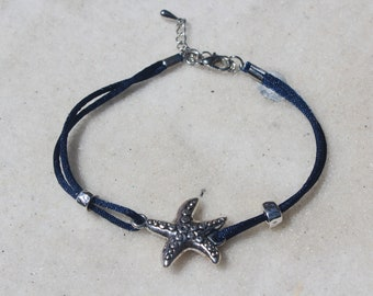Starfish Anklet with Blue Cord