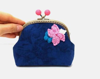 Blue Floral Coin Purse,Metal Frame Purse,Cosmetic Bag,Kiss Lock Purse,Money Purse,Mini Clutch,Gift for Her,Accessory pouch,Cute purse K-M-6