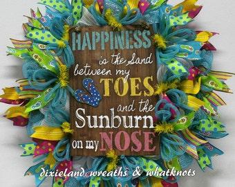 Flip Flop Wreath, Spring Wreath, Summer Wreath, Beach Wreath, Sand Between My Toes Wreath