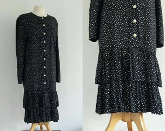Vintage 1970s Polka Dot Drop Waist Dress US 10 EU 40 UK 12 Flippy Ruffle Tiered