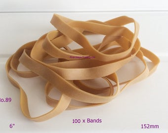 """100 x Large Natural 6"""" x 1/2"""" Wide Rubber Elastic Bands No.89 152.4mm x 12.7mm"""