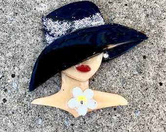 Lady in hat Pin Up brooch dimensional laser cut brooch hand painted