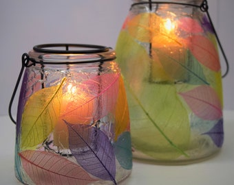 Multicolor Bright Glass Candleholders decorated Skeleton leaves  Centerpiece Handmade Gift