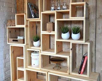 A set of pine shelves. Livingroom shelves, pine boxes.