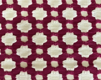 "Schumacher ""Betwixt"" Fabric Yardage in Color ""Magenta""/Natural"""