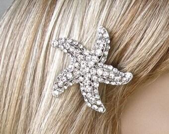 Silver or Gold Handmade Crystal Rhinestone Starfish Hair Clip, Bridal, Wedding (Sparkle-1817)