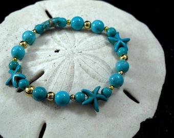 Beach Bracelet  Turquoise Bracelet  -Stretch Bracelet - Gift for Teen - Starfish Bracelet- Tropical Bracelet-Teen Bracelet