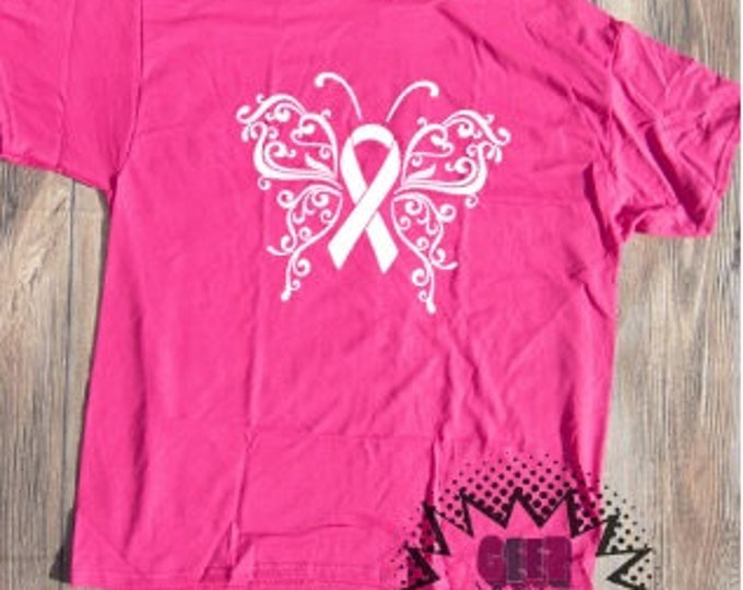 Breast Cancer Butterfly T-shirt October Pink Adult Shirt Awareness support