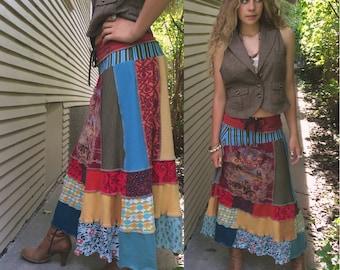 Eco long boho Skirt,Size S/M,patchwork skirt,hippy skirt,long jersey skirt, festival skirt, gypsy skirt, motorcycle skirt,red teal mix Zasra