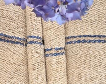 R 310 antique hemp BRIGHT BLUE upholstery 6.77 yards handloomed STAIRUNNER benchcushion Beachhouse look