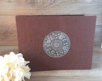 Vintage Paper Photography Album / Antique looking photo album w. black paper pages, etched metal / Vintage Home / Wedding Decor - Gift