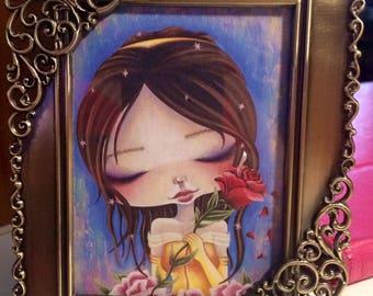 Mini Framed Princess, Belle, Beauty and the Beast, Girls Room, Nursery Art, Mini Print, Girls Decor, Gift, Art Print, Gift for Girls, Disney