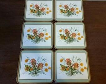 Vintage Pimpernel Floral Coasters/ Vintage Floral Coasters/ Set of 6 Vintage Coasters/ 6 Floral Coasters/ Pimpernel Coaster Set/ Coasters