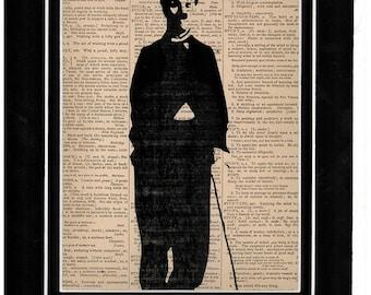180 Art print of Charlie Chaplin on vintage dictionary paper art