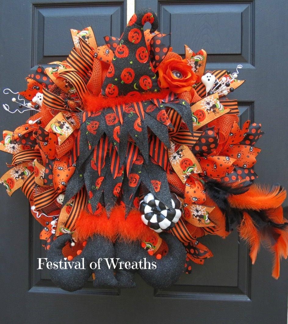 halloween deco mesh wreath halloween front door wreath