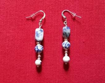 Delft 2: beaded earrings featuring sodalite, porcelain & silverplate beads