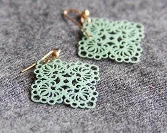 Mint Green Earrings, Filigree Earrings, Neo Vintage Jewelry