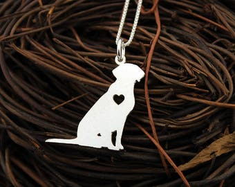 Labrador necklace Personalized Engraveable sterling silver Labrador Retriever pendant With Heart - Dog Breed Jewelry Best Cute Gift Pet Gift