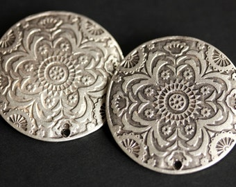 Two (2) Viking Brooches. Stamped Norse Brooch Set. Silver Apron Pins. Summer Mandala Shoulder Brooches. Viking Jewelry. Historical Jewelry.