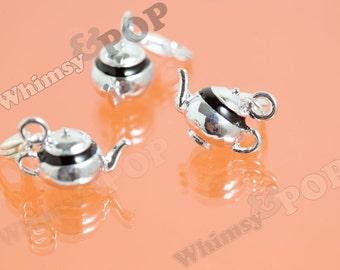1 - 3D Genie Silver Tone Black Enamel Teapot Detailed Kawaii Charm, Teapot Charm, Tea Charm, 30mm x 13mm (R9-026)