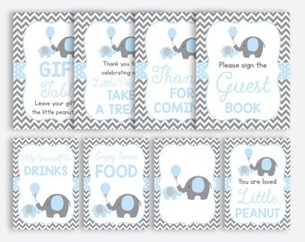 Instant Download, Elephant Baby Shower Table Sign, Elephant Party Sign, Little Peanut Party Sign, Boy Baby Shower, Blue Gray Chevron(SBS.35)