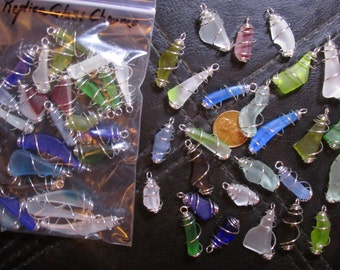 """25 Replica """"Sea Glass"""" Charms- Cage Wrapped Style- Small machine tumbled """"beach glass"""" dangles in a range of sizes & colors"""