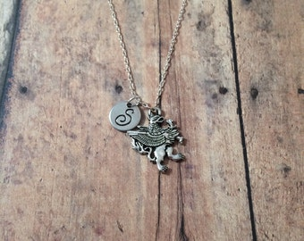 Griffin initial necklace - mythology jewelry, gryphon necklace, medieval jewelry, fairy tale jewelry, silver griffin necklace