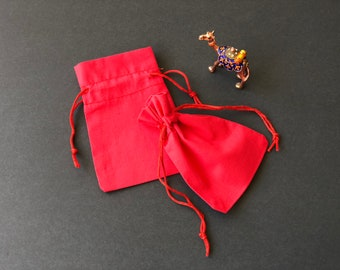 """10 pcs 4"""" x 6"""" RED Double Drawstring Bags - Red Velvet - Muslin Bags - THICK"""